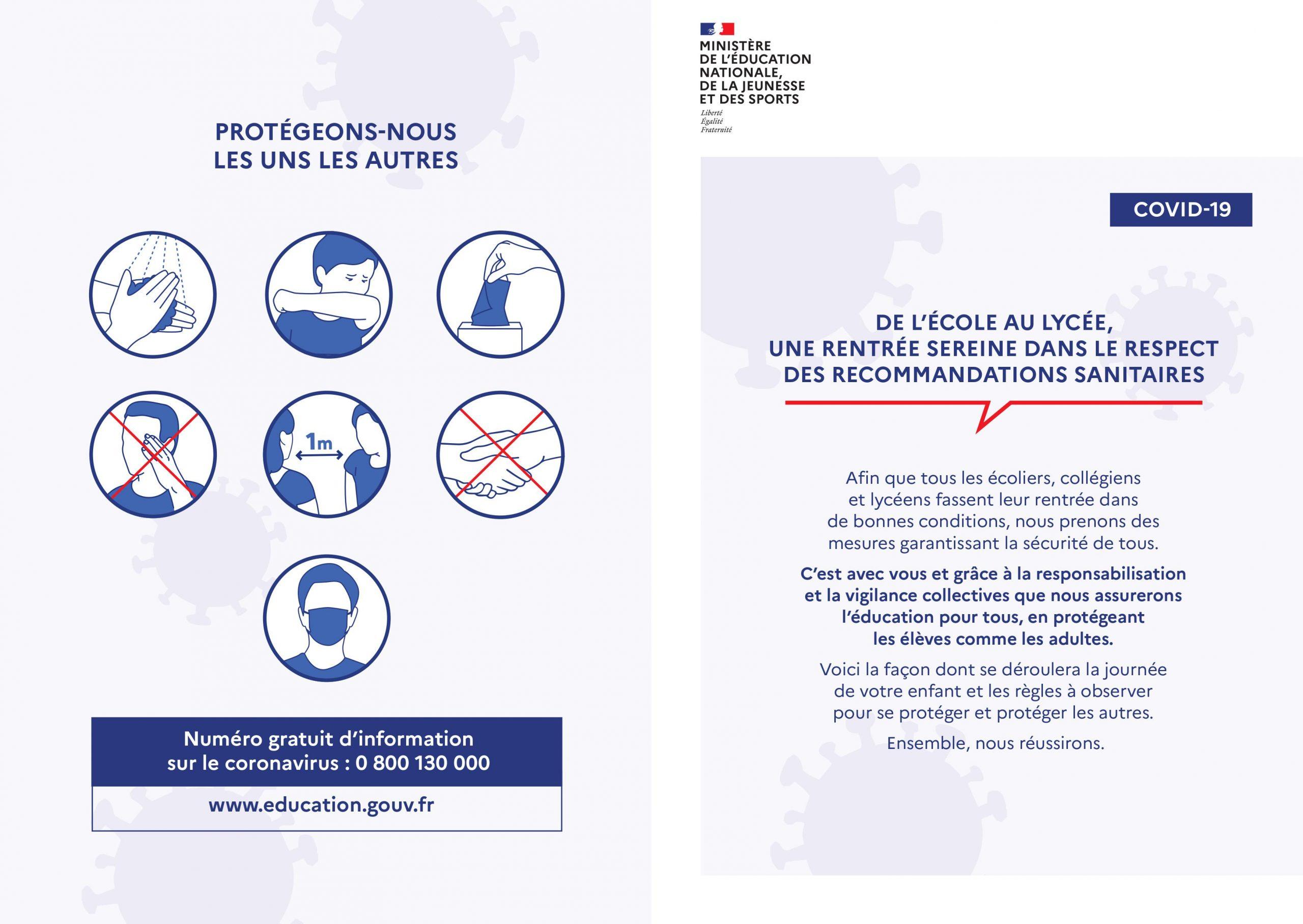 Flyer sanitaire parents rentrée 2020 page 1
