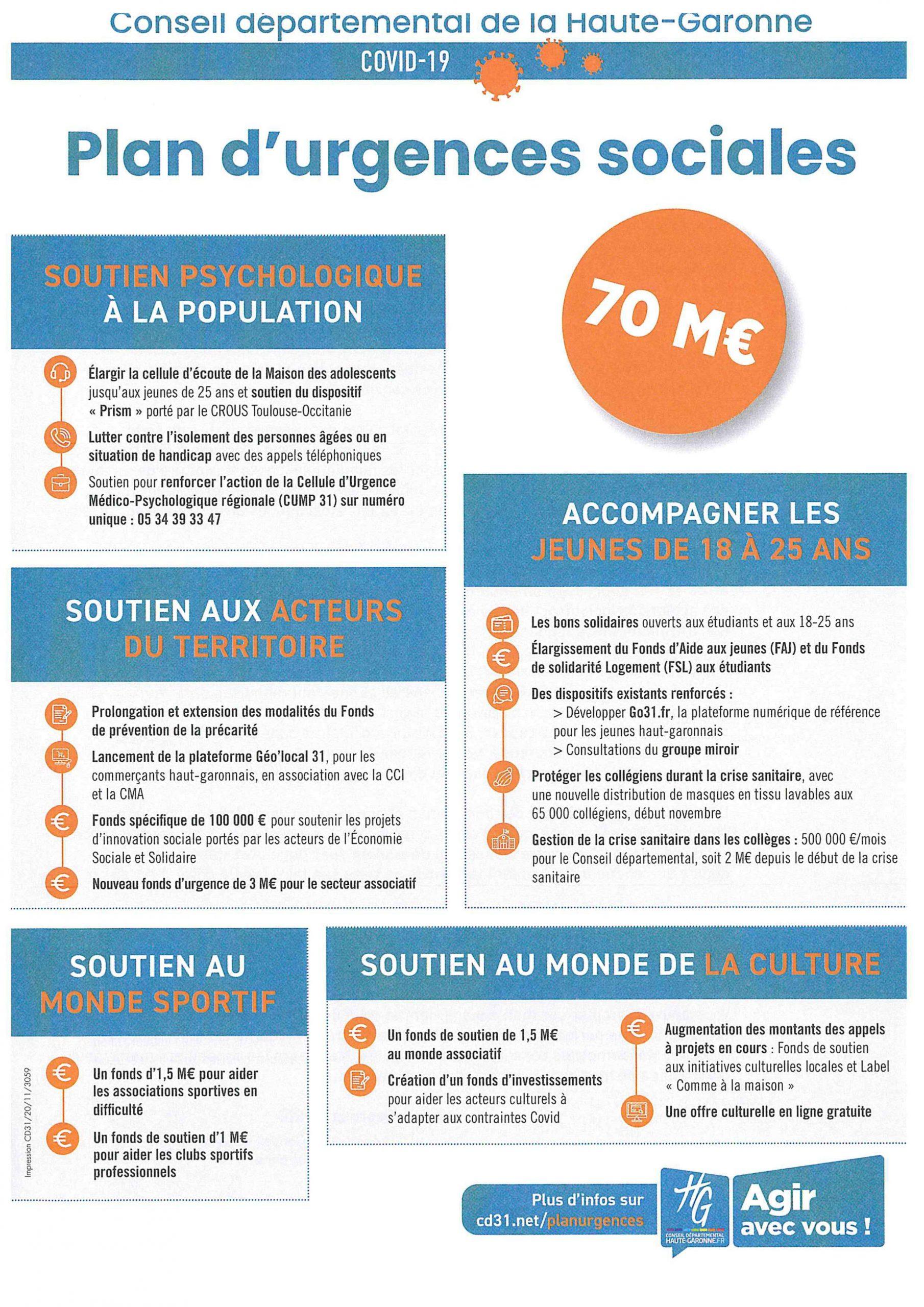 Plan d'urgences sociales COVID 19